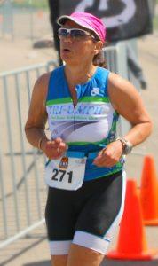 Monique on the run leg of her first 70.3 Mile triathlon
