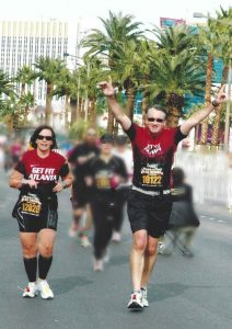 Tripp and I at the Finish of Rock n Roll Las Vegas Marathon 2011, his first marathon