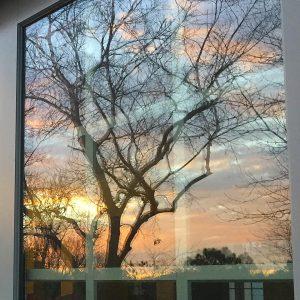 sunset in my rear door!